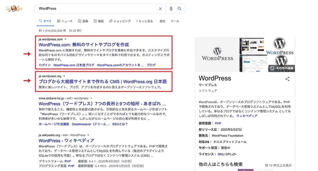 WordPressの検索結果